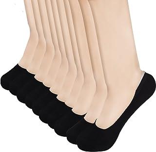 HBF, 10 Pares Calcetines Invisibles Mujer Algodón Calcetines Cortos Elástco Con Silicona Antideslizante