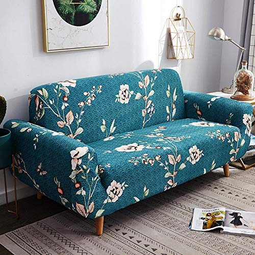 Sofa Covers 4 Seater Blue Flowers Couch Cover Polyester Spandex Printed Sofa Slipcover Stretch Fabric Sofa Protector Couch Pet Protector,Settee Covers for Loveseat