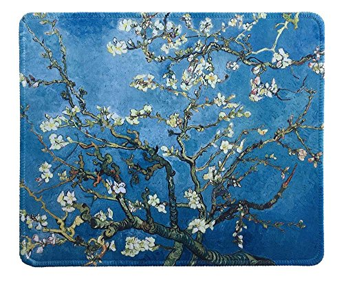 dealzEpic - Art Mousepad - Natural Rubber Mouse Pad with Famous Painting of Almond Blossoms by Vincent Van Gogh - Stitched Edges - 9.5x7.9 inches