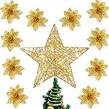 Estrella de árbol de Navidad de 25,4 cm y 10 piezas de flores de árbol de Navidad, árbol de Navidad, estrella con purpurina para decoración del hogar, día de San Valentín, Año Nuevo (dorado)