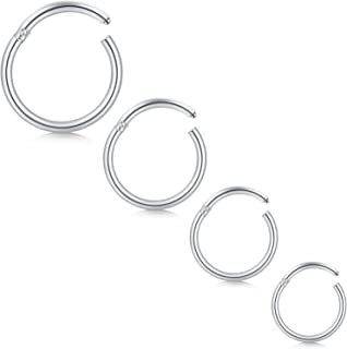 Longita 4 Pezzi 18G Acciaio Inossidabile Hinged Clicker Segment Piercing Septum Labbro Naso Cerchio per Donna Uomo Piercin...