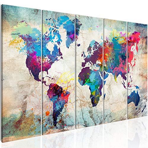 murando Quadro su Vetro Acrilico Mappa del Mondo 200x80 cm 5 Parti Quadro Moderno Impreso Stampa Immagini Murale Fotografia Decorazione da Parete Astratto Bunt Mappamondo Viaggio k-A-0179-k-n