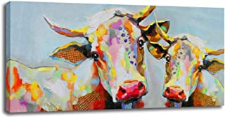 Colorful Cow Canvas Print Wall Art Wall Decoration Modern Artwork Ready to Hang for Living Room (Cow, 24