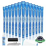 Champkey Traction-X Golf Grips Set of 13(5 Oz Solvent,Hook Blade,15 Tapes & Vise Clamp Available)-Choose Between 13 Grips & All Repair Kits and 13 Grips & 15 Tapes (Blue&White(Repair Kits),S)