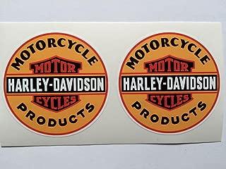 2 Harley davidson Vintage Style Products Orange Die Cut Decals