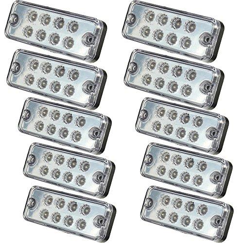 Seitenleuchten, HEHEMM Seitenmarkierungsleuchte 8 LED Schlussleuchte Clearance Rücklicht Positionsleuchte Wiederherstellungslampen Markierungsleuchten für Anhänger LKW 24V 10 PCS (Weiß)