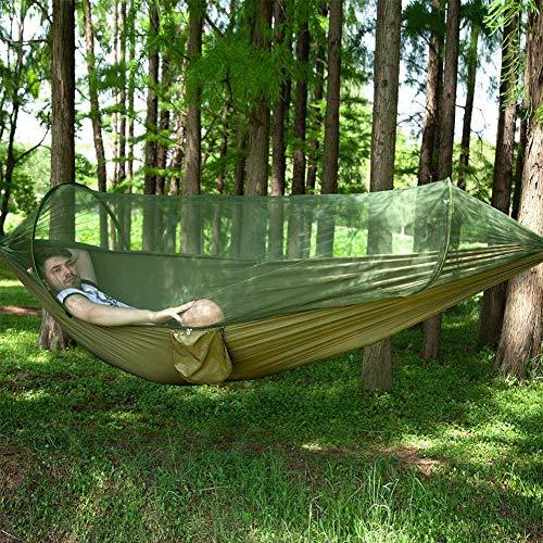 Hamaca de gran tamaño con árbol de mosquitero Tela de peso ligero de tela de paracaídas Mosquitera Mosquitero Hamaca 300kg Capacidad de carga para jardín interior al aire libre-verde 250 * 120 POR LIG