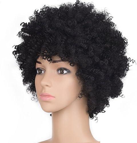 HAOBAO Europe et Amérique Perruque Femelle Tête Explosive Cheveux bouclés africains Courte Perruque bouclée Fibre de Soie à Haute température Tête de Perruque Boucles ondulées Perruque Cosplay