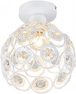 Moderne Plafonnier Industrielle Cristal en Métal, Luminaire l'éclairage Intérieur Exterieur de Plafond Abat-Jour Blanc