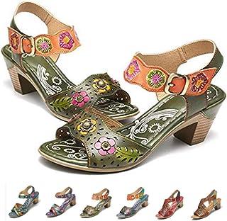 ebdfc4ff737 gracosy Sandalias Cuero Verano Mujer Estilo Bohemia Zapatos de Tacón Medio  para Mujer de Dedo Sandalias
