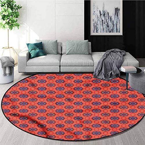 Buy Bargain RUGSMAT Tribal Non Slip Round Rugs,Oriental Floral Motifs Non-Skid Bath Mat Living Room/...
