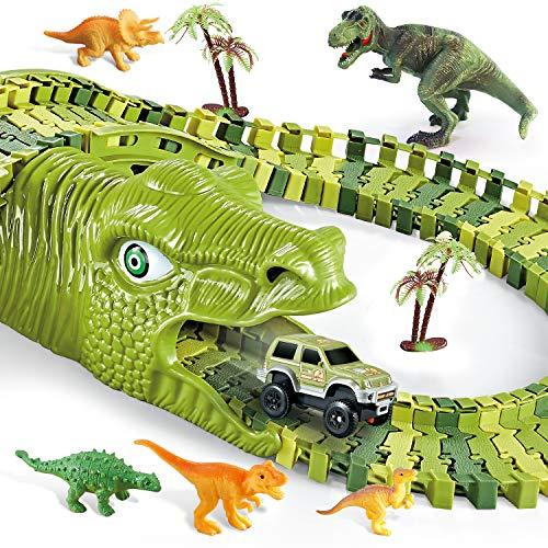 burgmate Dinosaur Toys Race Track Toy Set 271 Pcs, Dinosaur Car Race Track Toy with 250 Flexible Trains Tracks, 2 Dinosaur Head, 2 Cars and Bucket, Best Gift Toy for Kids Boys Girls