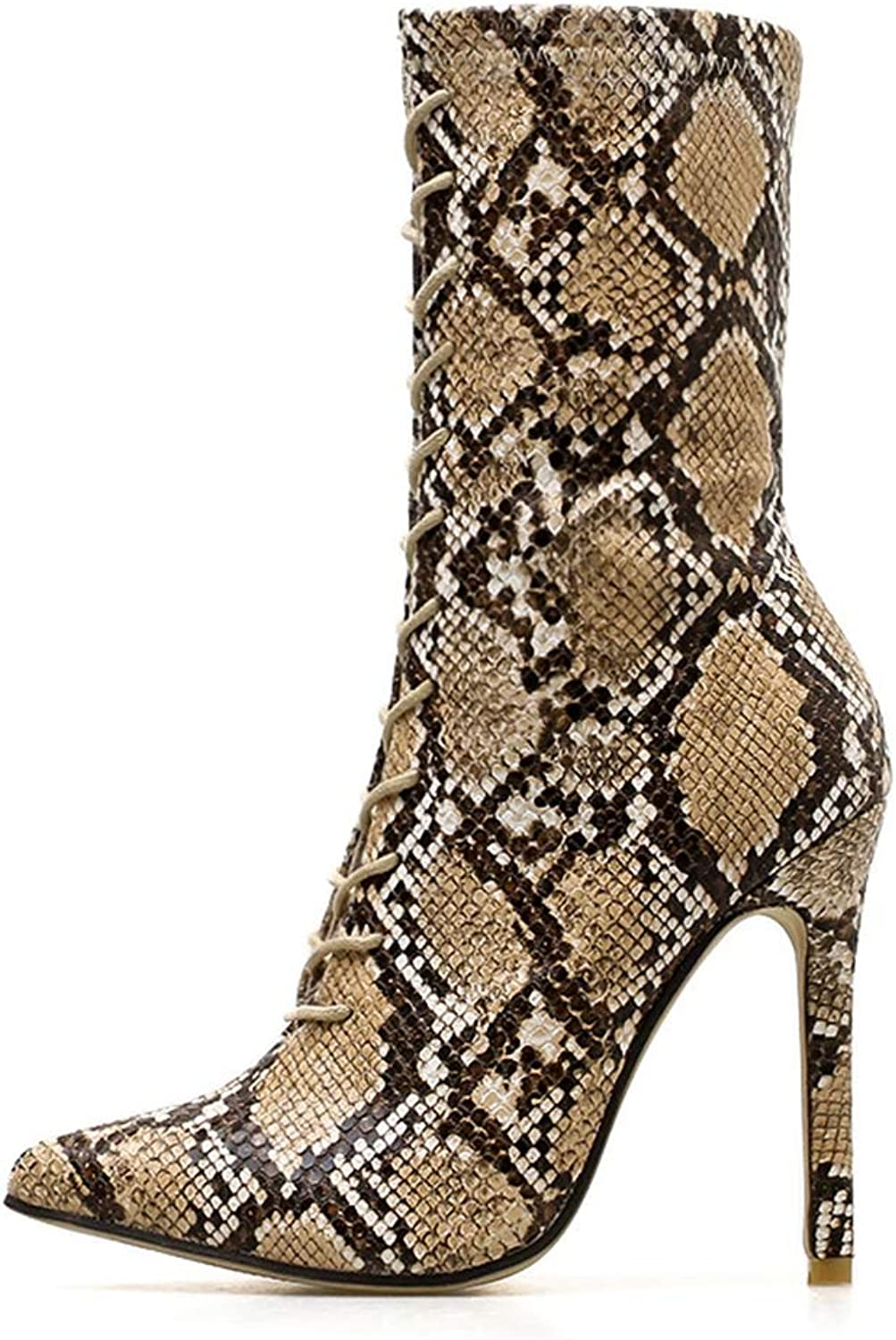 FAY WATERS Women's Winter Lace Up Pointed Toe Super High Thin Heels Snake Mid Calf Boots