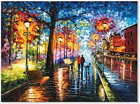 Alenoss 30x40 inch Modern Abstract 3D Oil Painting on Canvas Wall Art Romantic Couples at Night product image