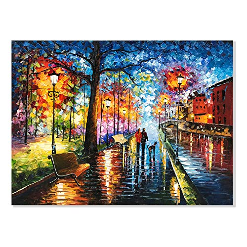 Alenoss 30x40 inch Modern Abstract 3D Oil Painting on Canvas Wall Art Romantic Couples at Night Hand Painted Framed Wall Art Paintings for Living Room Bedroom Office Wall Decor