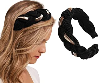 Silk Satin Braided Headband Padded Puffy Hair Band with Metal Chain Wide Thick Hair Hoop for Women and Girls