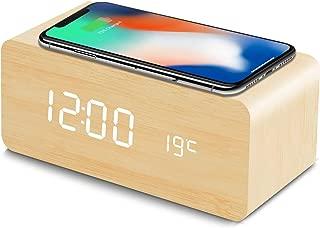 HZDHCLH 置き時計 デジタル 目覚まし時計 Qiワイヤレス充電機能 android iphone 木目調 日付 温度 USB給電 音声感知 省エネ (ベージュ)