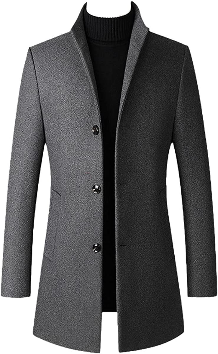 Autumn And Winter Men's Casual Long Wool Blended Windbreaker Solid Color Thick Business Jacket gray L