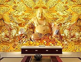 TIANXINBZ ورق حائط ثلاثي الأبعاد مخصص Lucky Fortune ذهبي لتزيين الحائط