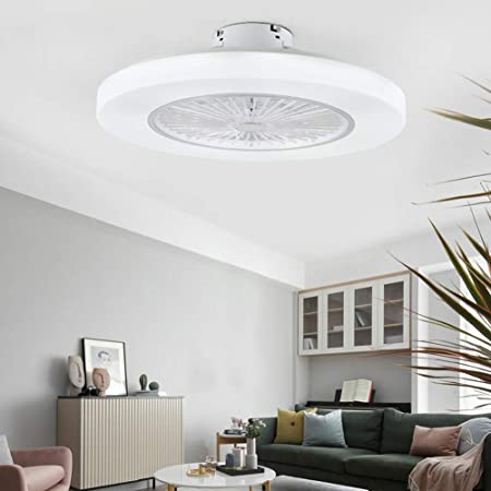 Orillon 22'' Thin Modern Ceiling Fan with Light for Indoor Kitchen Bathroom Bedroom,Remote LED 3 Color Lighting Low Profile Flush Mount Quiet Electric Fan with 11 ABS Blades and Plastic Cover,White