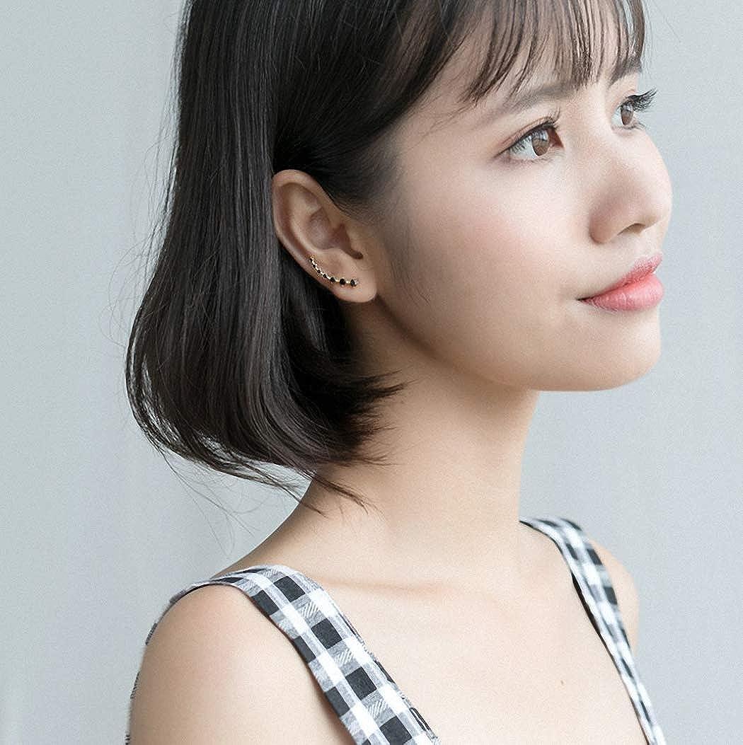 Ear Wrap Crawler Hook Earrings 7 Crystal Ear Cuffs Wrap Earrings Hypoallergenic Black CZ Gold Tone