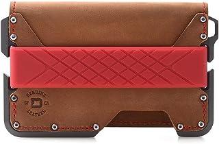 Dango D01 Dapper EDC Wallet - Made in USA - Genuine Leather, CNC Alum, RFID Blocking (Brown Rawhide/Slate Grey Bifold)