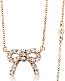 Gem Stone King 10K Solid Rose Gold Diamonds by the Yard 0.33cttw Pave White Diamonds Ribbon Bow Pendant Necklace 18inches Chain 2inches Extenders