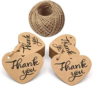 Original Design Thank You Tags,100PCS Favor Tags with String,Paper Gift Tags,Heart Shape Tags for Wedding,Baby Shower Party,Thanksgiving (Brown)