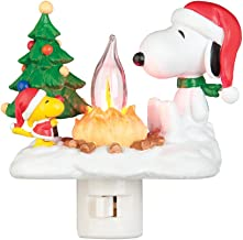 Snoopy By Camp Fire 4.5 Inch Polyresin Swivel Plug Flickering Night Light