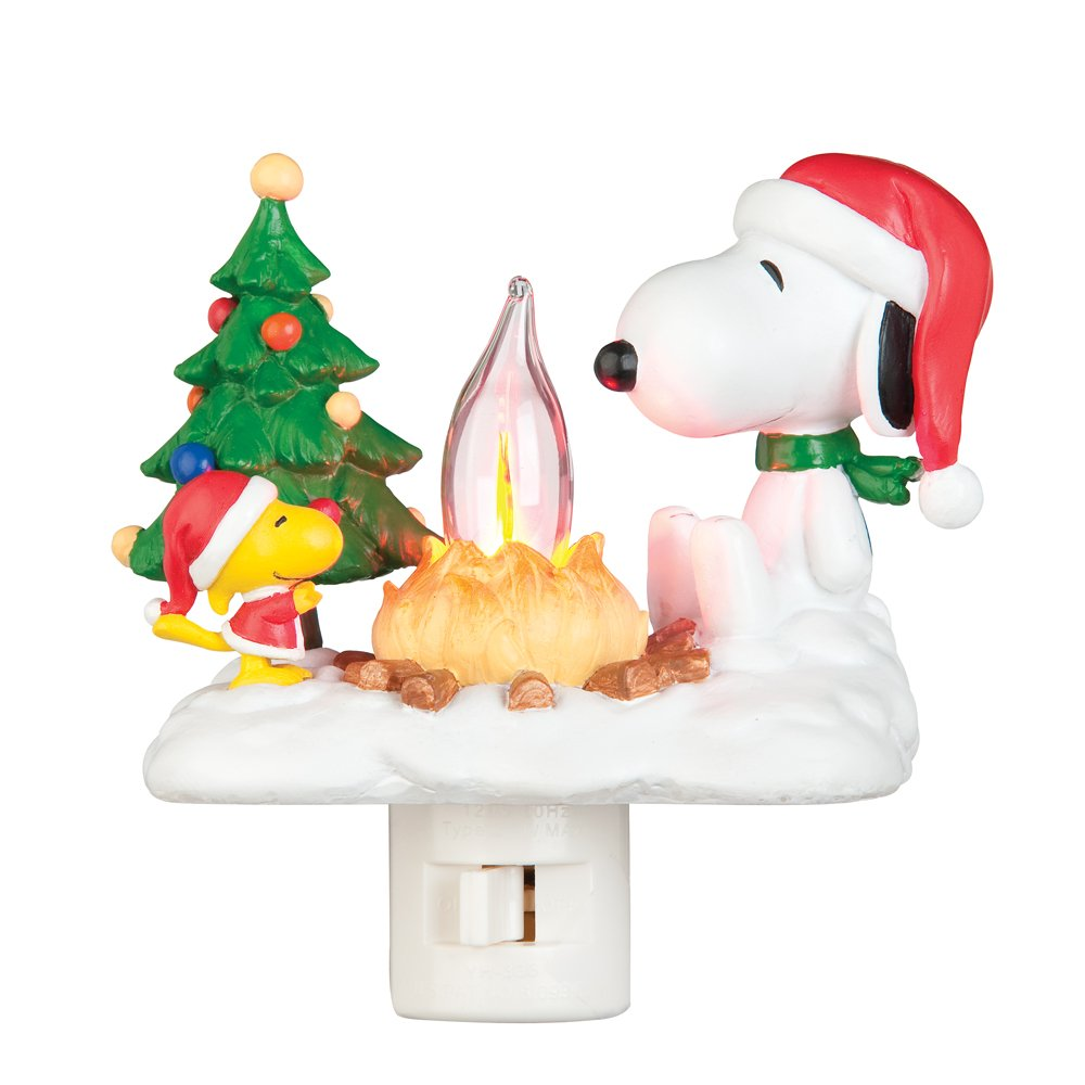 Image of Cute Woodstock and Snoopy Christmas Night Light