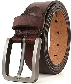 Belts for Men Genuine Leather Belt for Jeans Dress Black Brown Regular Big and Tall Size 28
