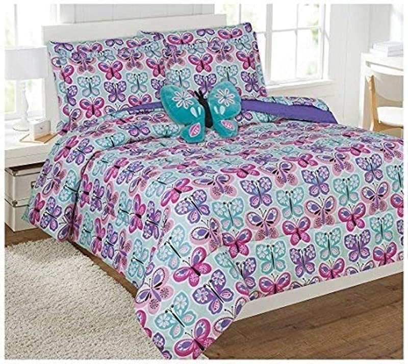 Elegant Home Butterflies Floral Multicolor Blue White Pink Design 8 Piece Comforter Bedding Set For Girls Kids Bed In A Bag With Sheet Set Decorative Toy Pillow Butterfly Blue 2 Full Size