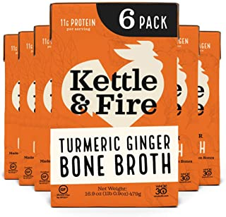Turmeric Ginger Chicken Bone Broth by Kettle and Fire, Pack of 6, Keto Diet, Paleo Friendly, Whole 30 Approved, Gluten Fre...