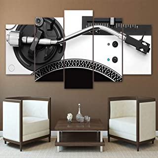 QJXX Prints On Canvas Turn Tables DJ Club 5 Panels Canvases Art Print Modern Artwork Wall Art Paintings Bedroom Mixer Pictures Turntable Playing,B,30×50×2+30×70×2+30×80×1