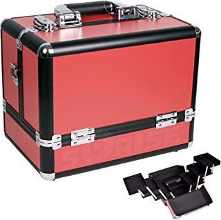 12 inch Red Panel w/Black Trim Travel Cosmetic Organizer Makeup Artist Train Case
