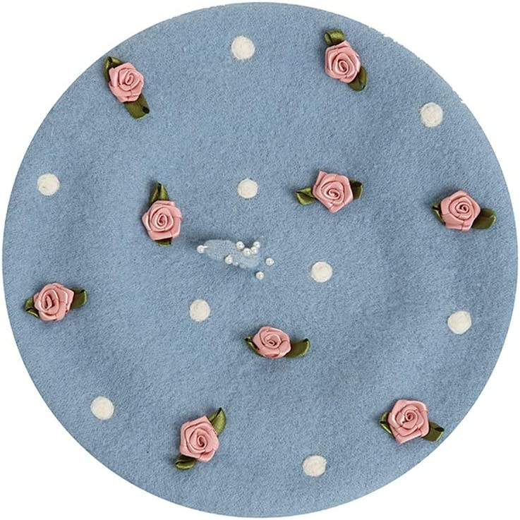 LHZUS Hats Literary Flower Embroidery Hat Handmade Wool Felt Autumn Winter Warm Berets Birthday Fashion Lovely Gift for Girls (Color : E Blue, Size : 56-58CM)