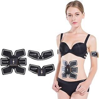 Electroestimulador Muscular con Carga EMS, Músculo Abdominal Músculos Abdominales y Mujeres Ejercitador Inteligente Entrenamiento Muscular Abdominal Fitness Pink Black, Black