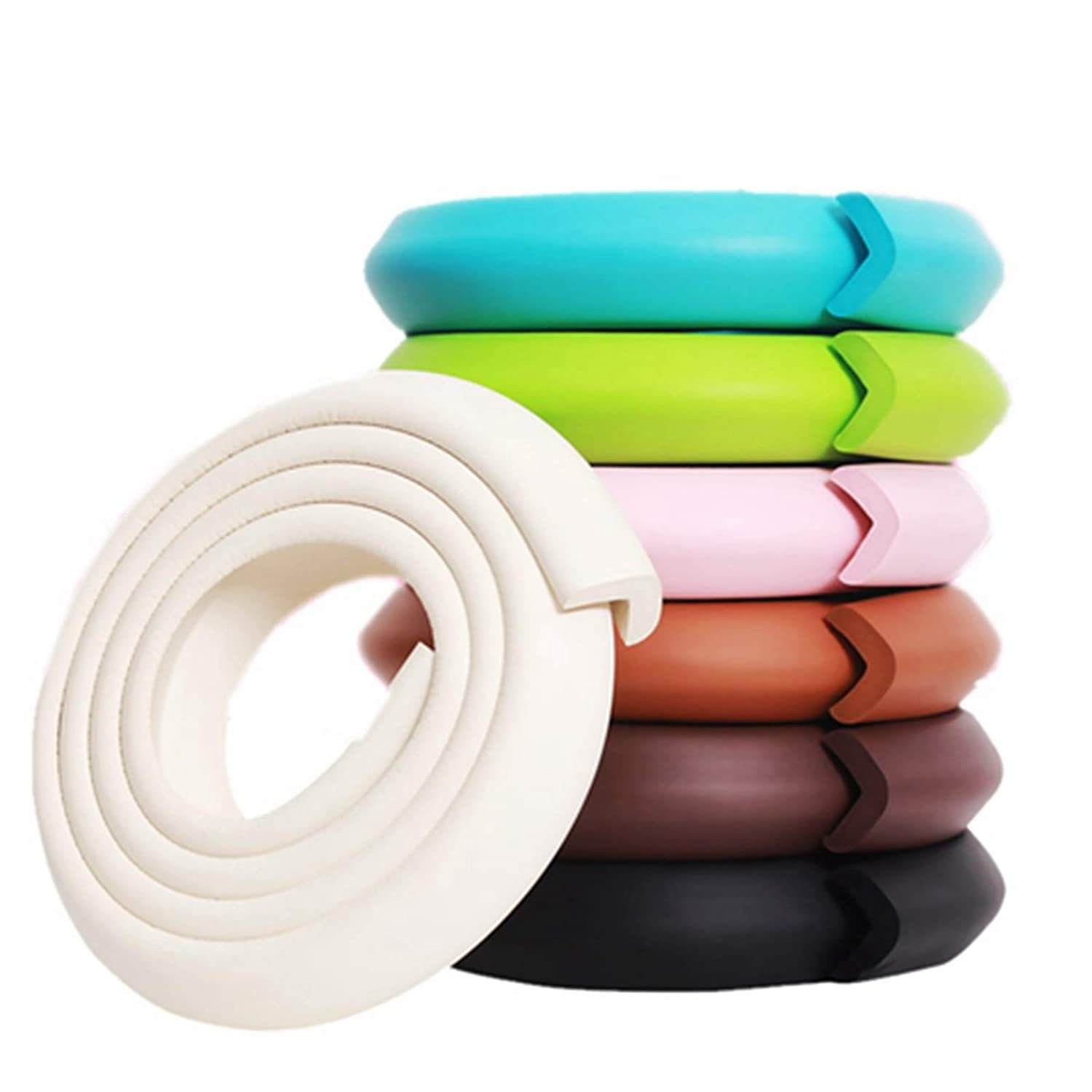 M2cbridge L Shape Extra Thick Furniture Table Edge Protectors Foam Baby Safety Bumper Guard 6.5 Ft (Off White)
