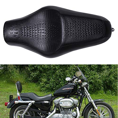 Brown Crocodile Leather Motorcycle Front Driver Rear Passenger Two Up Leather Seat Cushion for Harley Davidson Seventy-two XL1200V Sportster 883 Iron 883