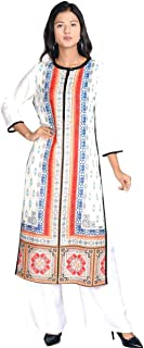 Indian Handicrfats Export White Casual Geometric 3/4th Sleeves Kurti