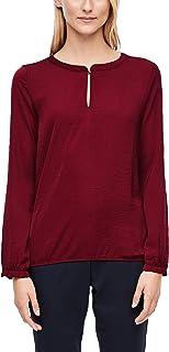 s.Oliver RED Label Damen Fabric-Mix-Bluse mit Rüschen-Detail