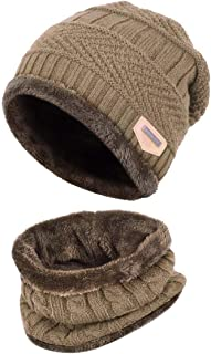 HIDARLING Winter Knitted Beanie Hat with Winter Scarf Set Synthetic Wool Warm for Men/Women