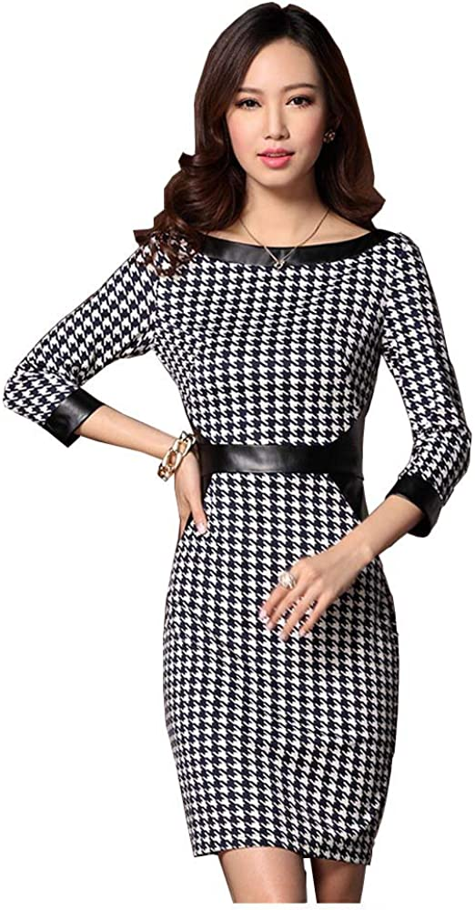 Angel&Lily Fall Combo Faux Leather & Houndstooth Dress plus1x-10x(SZ16-52)