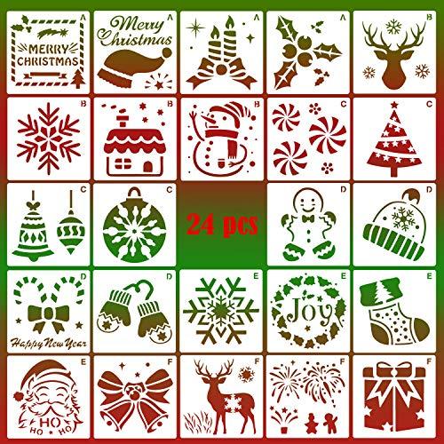 HOWAF Weihnachts schablonen Set, 24 Stück Kunststoff Zeichenschablonen Malschablonen, Schablonen Wiederverwendbar für Scrapbooking Fotoalbum, DIY Geschenkkarten, Geschenke Weihnachten Kinder