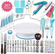 Cake Decorating Supplies Kit for Beginners, Set of 207, Baking Pastry Tools, 1 Turntable stand-30 Numbered Icing Tips with...