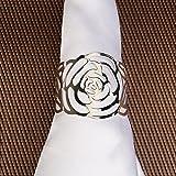 KAKOO 12 Stück Serviettenringe Set, Metal Rose Morderne Serviettenhalter für Hochzeit Geburtstag Weihnachten Taufe Tisch Dekoration (Silber) - 6