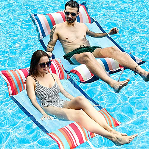 FindUWill Inflatable Pool Float, 2-Pack XL Soft Fabric Multi-Purpose Inflatable Water Hammock (Saddle, Lounge Chair, Hammock, Drifter), XL (Longer/Wider) Pool Lounge for Adults