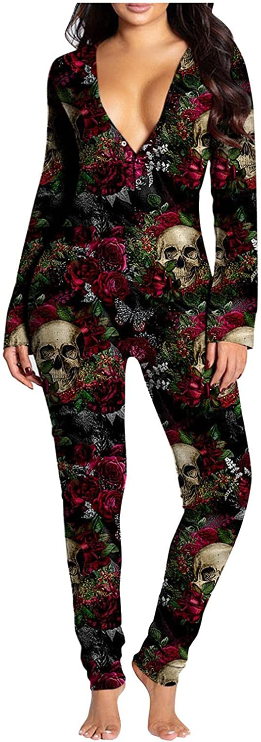UOCUFY Pajamas for Women,Women's V Neck Button-Down Front Halloween Printed Rompers Buttoned Flap Long Sleeve Adults Jumpsuit