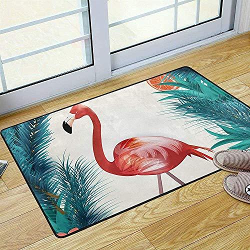 FANCYDAY Flamingo Palm Leaf Welkom Deur Mat Mooie Patroon Ruimte Tapijt voor Badkamer Wasbare Badmat voor Keuken Outdoor 36 x 24 in 2040162
