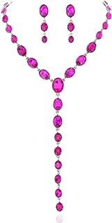 Women's Jewelry Descending Y Oval Drop Necklace and Stud Post Dangle Earrings Set